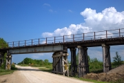 Railroad bridge on cloudy day